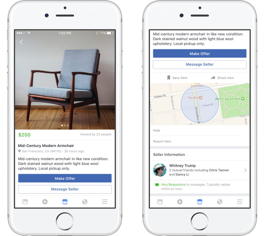 facebook's new marketplace on smartphone